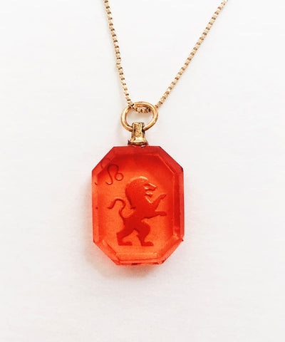 Leo Necklace - Red Zodiac Birthstone Crystal Pendant Necklace - Back Crystal Pendant