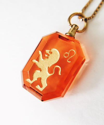 Leo Necklace - Red Zodiac Birthstone Crystal Pendant Necklace - Pendant Closeup