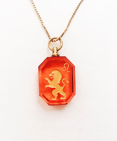 Leo Necklace - Red Zodiac Birthstone Crystal Pendant Necklace - Front Crystal Pendant