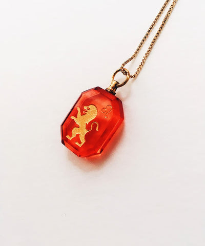 Leo Necklace - Red Zodiac Birthstone Crystal Pendant Necklace - Side Crystal Pendant