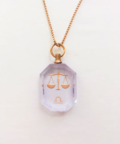 Libra Necklace - Purple Zodiac Birthstone Crystal Pendant Necklace - Back Crystal Pendant