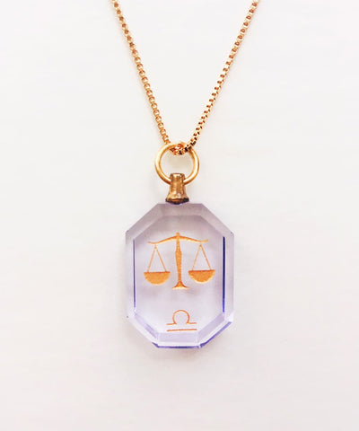 Libra Necklace - Purple Zodiac Birthstone Crystal Pendant Necklace - Front Crystal Pendant