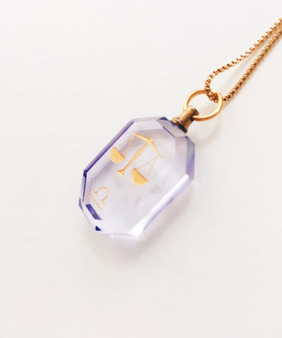 Libra Necklace - Purple Zodiac Birthstone Crystal Pendant Necklace - Side Crystal Pendant