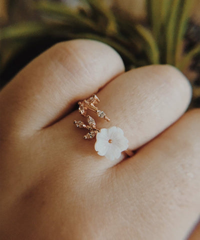 Lily Statement Ring - Rose Gold Statement, Adjustable, Bohemian, Wrap, Delicate, Flower, Cubic Zirconia Ring - Lily Statement Ring - Rose Gold Statement, Adjustable, Bohemian, Wrap, Delicate, Flower, Cubic Zirconia Ring