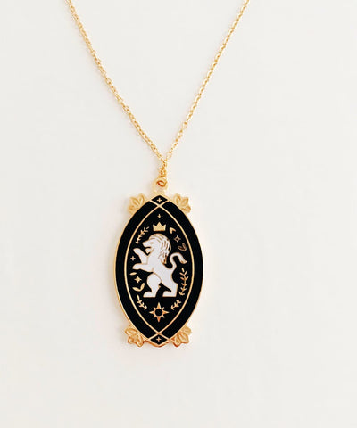 Lion Necklace - Black & White Enamel Gold Plated Gothic Animal Necklace - Front charm and pendant