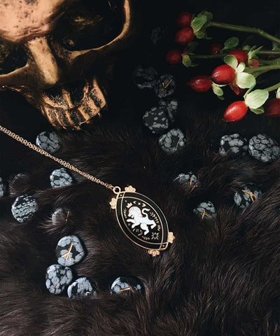 Lion Necklace - Black & White Enamel Gold Plated Gothic Animal Necklace - With Skull