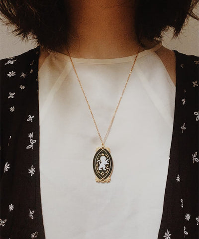 Lion Necklace - Black & White Enamel Gold Plated Gothic Animal Necklace - Wearing on Model