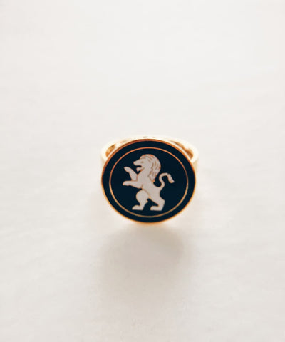 Lion Ring - Gold Coin Ring, Enamel Ring, Animal Spirit Ring, Black and White Animal Ring - Front