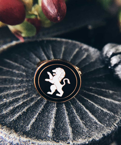 Lion Ring - Gold Coin Ring, Enamel Ring, Animal Spirit Ring, Black and White Animal Ring - On ritual altar - occult ring