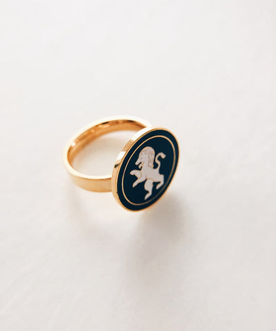 Lion Ring - Gold Coin Ring, Enamel Ring, Animal Spirit Ring, Black and White Animal Ring - Quarter