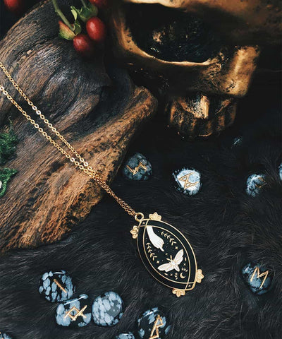 Moth Necklace - Black & White Enamel Gold Plated Gothic Animal Necklace - Witchy Lifestyle