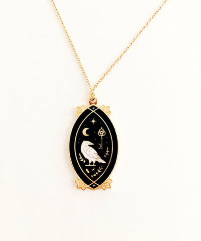 Raven Necklace - Black & White Enamel Gold Plated Gothic Animal Necklace - Front charm and pendant