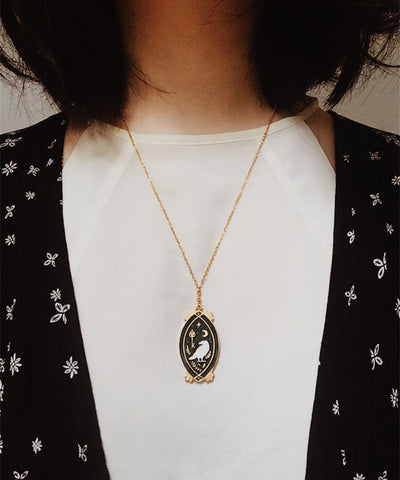 Raven Necklace - Black & White Enamel Gold Plated Gothic Animal Necklace - Wearing on Model