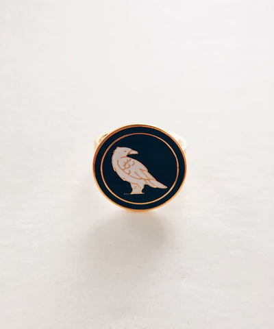 Raven Ring - Gold Coin Ring, Enamel Ring, Animal Spirit Ring, Black and White Animal Ring - Front