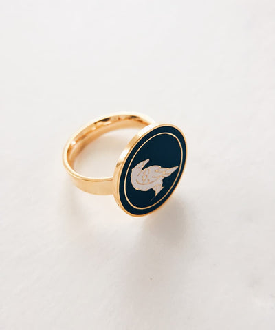 Raven Ring - Gold Coin Ring, Enamel Ring, Animal Spirit Ring, Black and White Animal Ring - Quarter