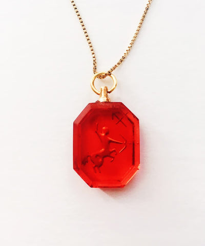 Sagittarius Necklace - Red Zodiac Birthstone Crystal Pendant Necklace - Back Crystal Pendant
