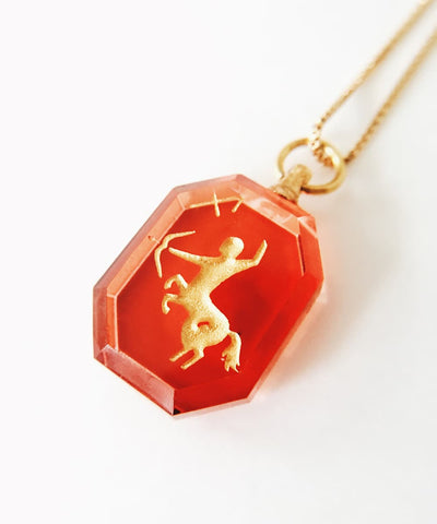 Sagittarius Necklace - Red Zodiac Birthstone Crystal Pendant Necklace - Pendant Closeup