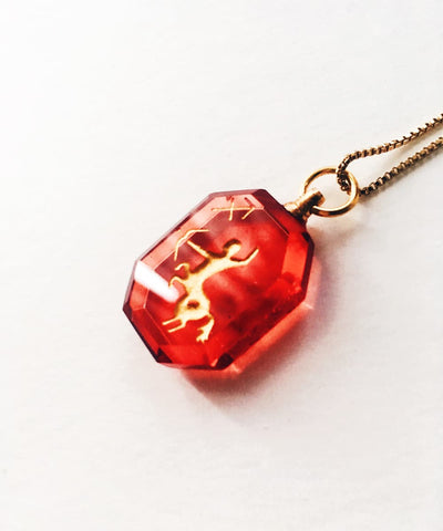 Sagittarius Necklace - Red Zodiac Birthstone Crystal Pendant Necklace - Side Crystal Pendant