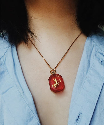 Sagittarius Necklace - Red Zodiac Birthstone Crystal Pendant Necklace - Wearing on Model
