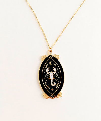 Scorpion Necklace - Black & White Enamel Gold Plated Gothic Animal Necklace - Front charm and pendant