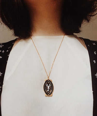 Scorpion Necklace - Black & White Enamel Gold Plated Gothic Animal Necklace - Wearing on Model