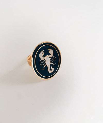 Scorpion Ring - Gold Coin Ring, Enamel Ring, Animal Spirit Ring, Black and White Animal Ring - Front