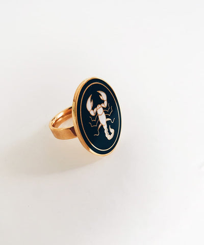 Scorpion Ring - Gold Coin Ring, Enamel Ring, Animal Spirit Ring, Black and White Animal Ring - Quarter View
