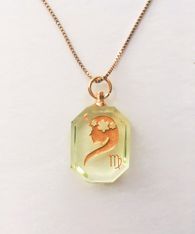 Virgo Necklace - Green Zodiac Birthstone Crystal Pendant Necklace - Front Crystal Pendant