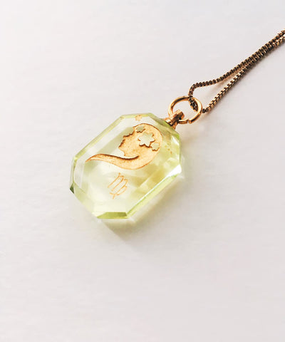 Virgo Necklace - Green Zodiac Birthstone Crystal Pendant Necklace - Side Crystal Pendant