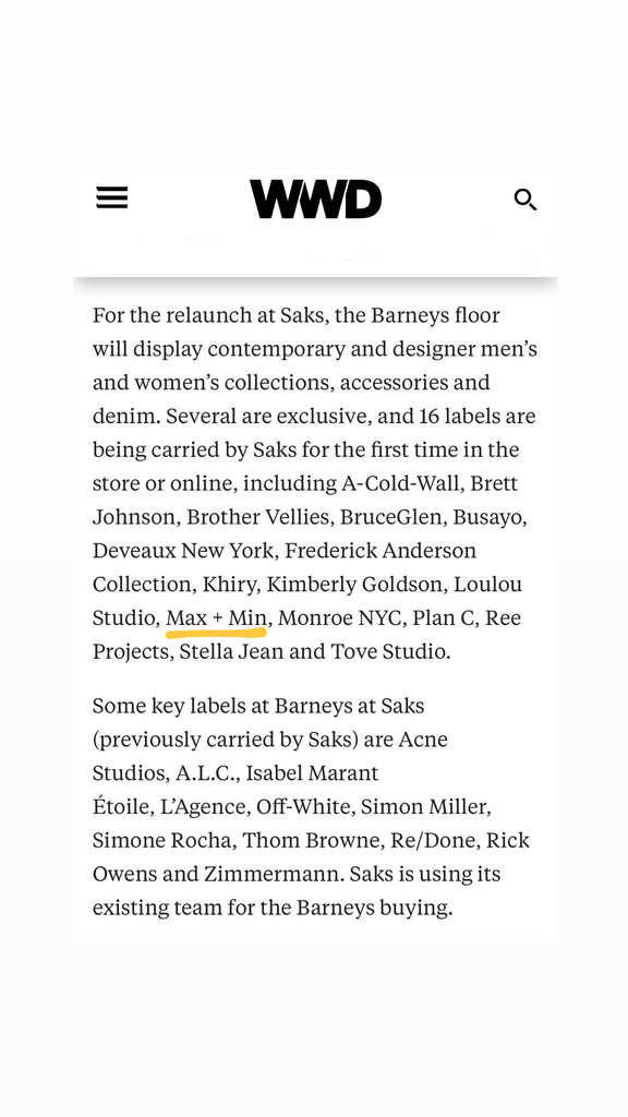 WWD x MAX+min x Barneys at Saks