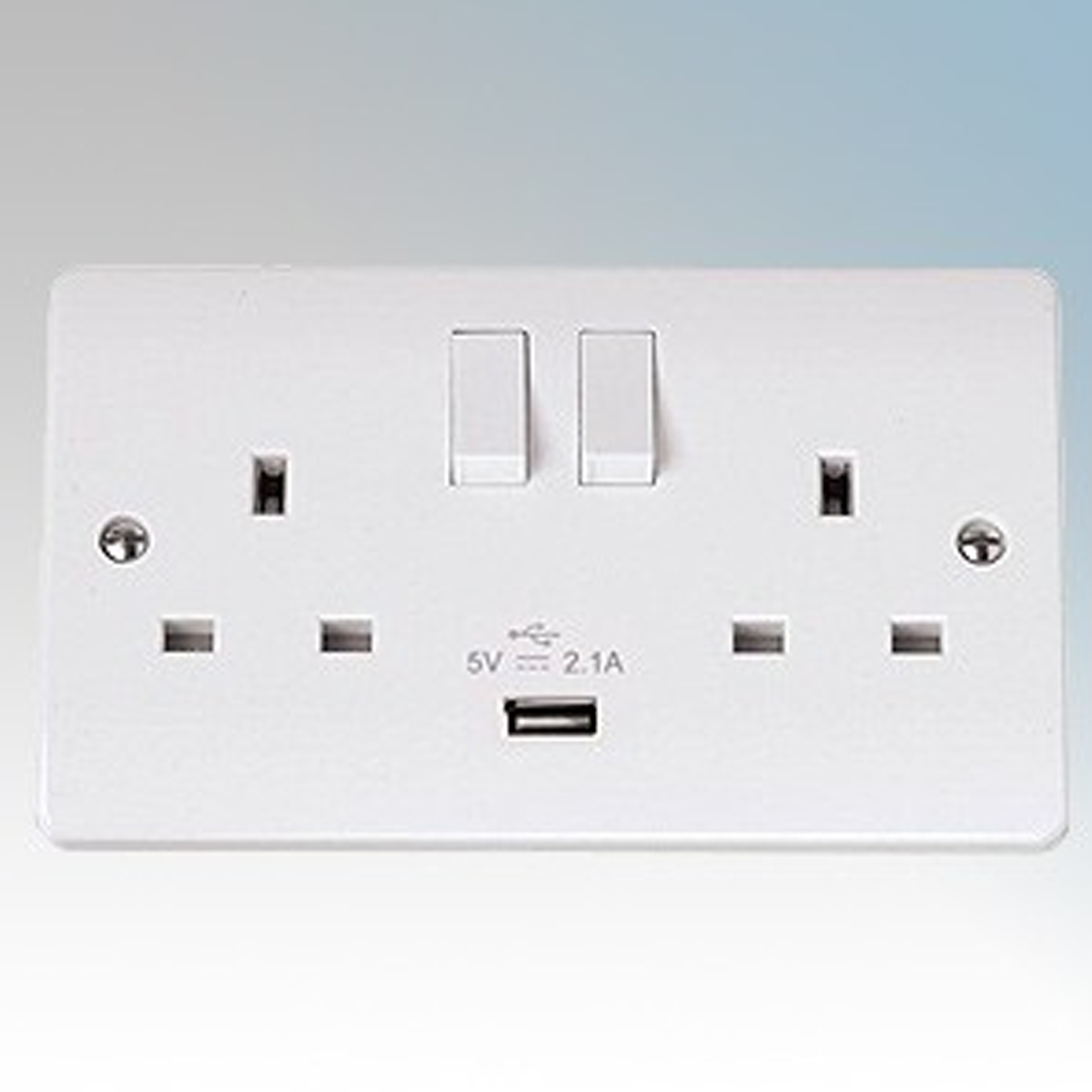 Click White Moulded 2 Gang Switchsocket with 2.1A USB Port 13A