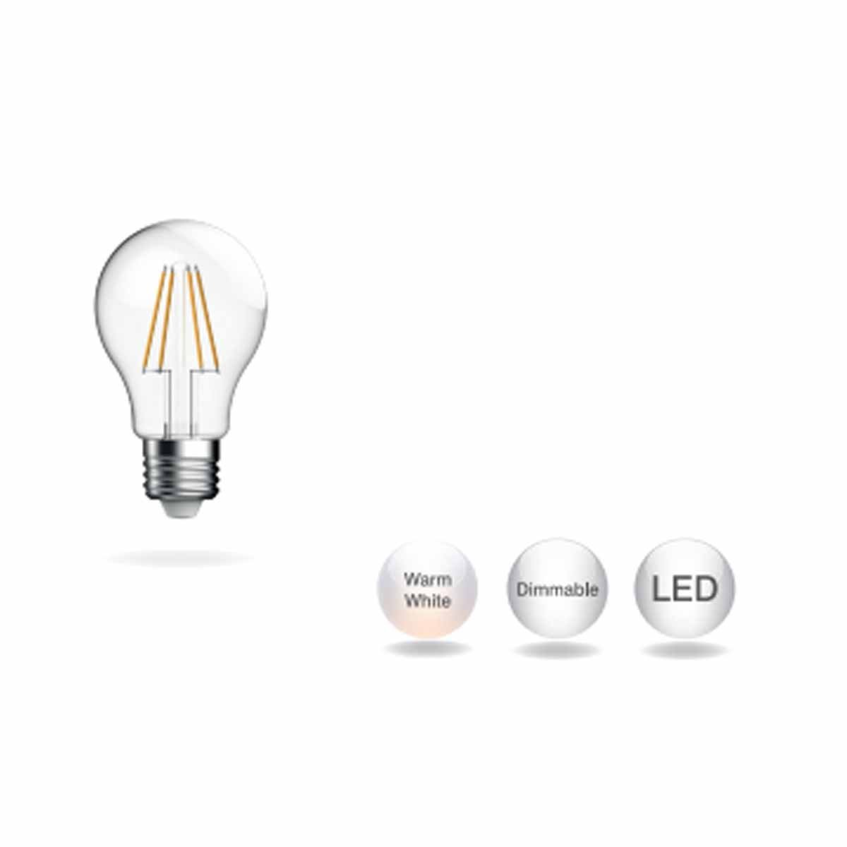 A60 Filament 7.7W 1055lm Dimmable  2700K E27  Clear 75W