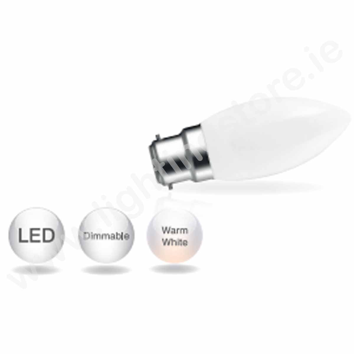 Energetic Opaque B22 Candle Dimmable Bulb - Soft Warm White
