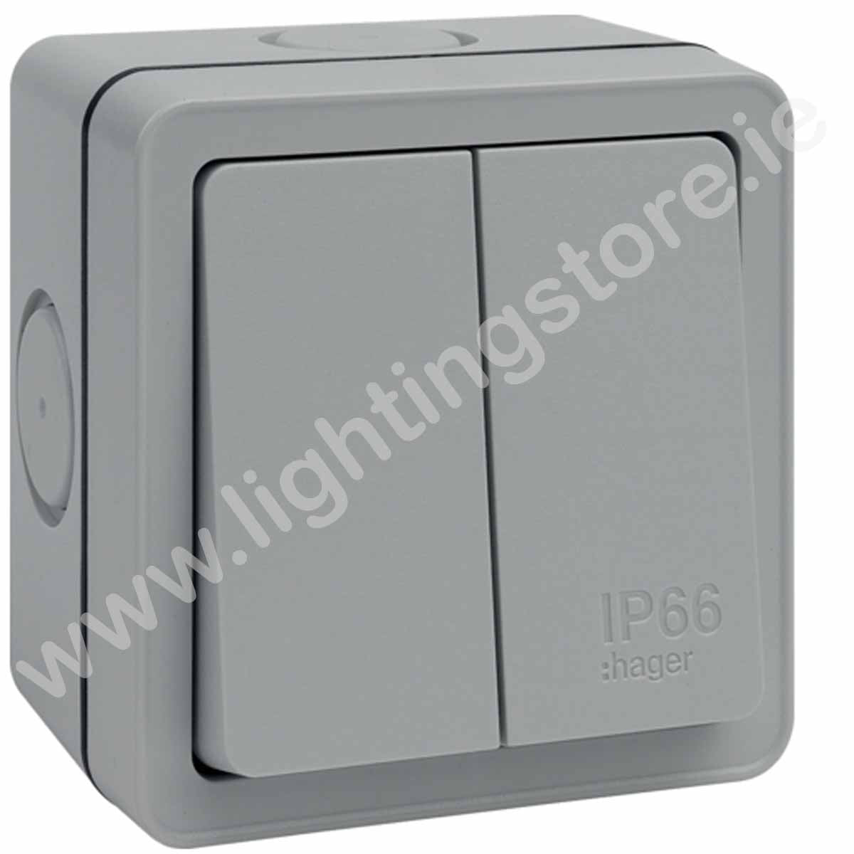 Hager IP65 2 Gang Waterproof Switch