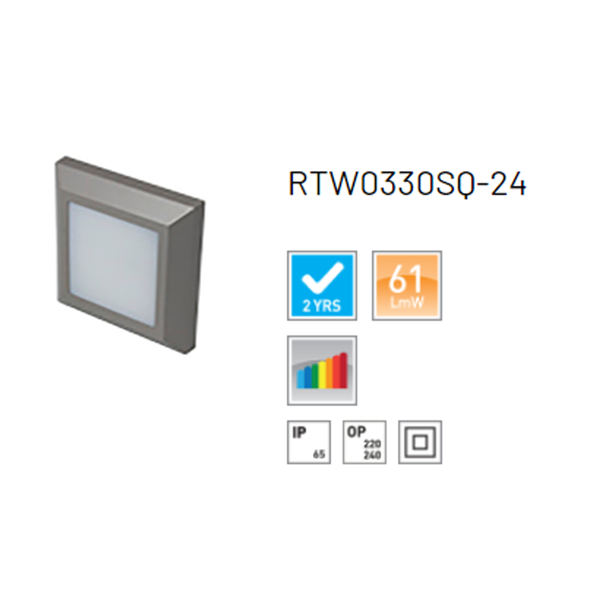 Robus TWILIGHT 3W LED square wall light, IP65, Grey, 3000K