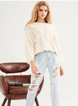 MAIA Cream Knit Crop Top