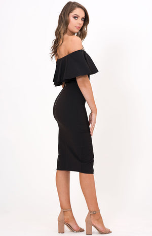 VENUS Midi Black Dress