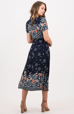MEROPE Navy Button Dress