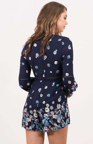 IRIS Navy Floral Playsuit