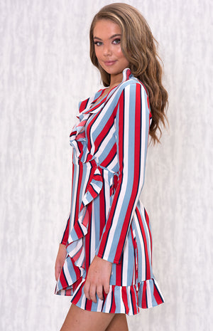 HELENA Stripy Frill Dress