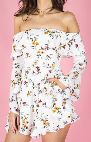 PHOEBE White Floral Playsuit