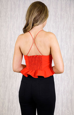 LETO Red Crop Top