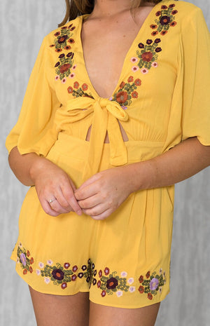 STYX Yellow Flower Playsuit