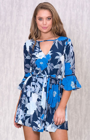 THETIS Navy Flower Frill Dress