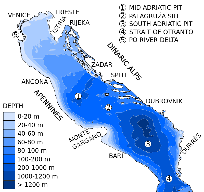 Adriatic Sea depth
