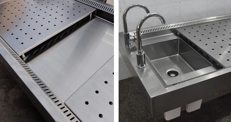 stainless steel autopsy table sink and drain plates