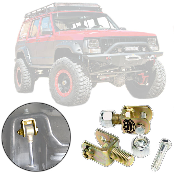 JKS Front Upper Shock Conversion Kit for 1984-2001 Jeep Cherokee XJ or Comanche MJ