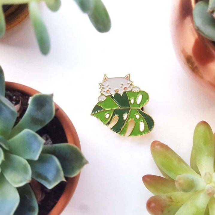 """Monstera Cat"" - Enamel Pin"