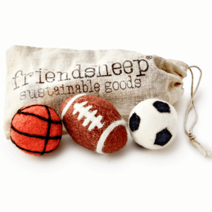 """Sporty Cat"" - Wool Cat Toy Set (Soccer+Basketball+Football)"