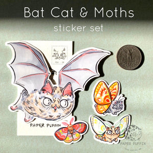 """Bat Cats & Moths"" - 4 pack of stickers"
